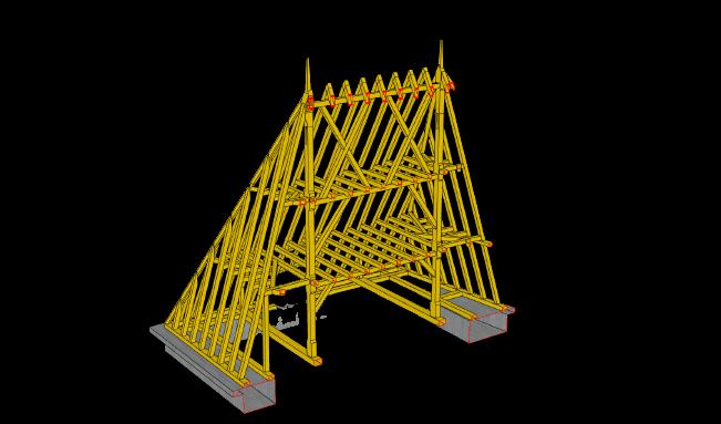 Un exemple demodélasition 3D de charpente restaurée